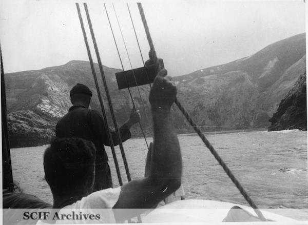 File:39 B. Hughey 9-1950 Cruise - entering Potatoe's harbor.jpg