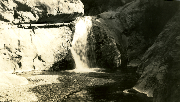 Main creek at Cascada showing flow of water sufficient to supply Main Ranch and irrigate considerable land in addition. Santa Cruz Island, Symmes, 1922