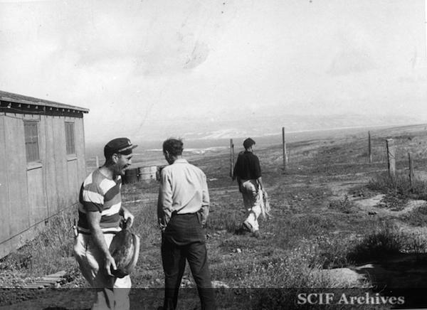 "File:23 B. Hughey 9-1950 Cruise - Filching ""props"" from derserted ranch house - SMI 2.jpg"