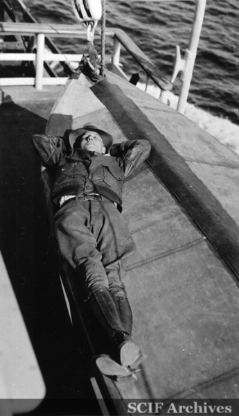 File:SRI Waive Wagner sleeping in the life boat of Vaquero I.jpg
