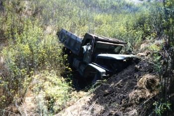 SCrI disaster - crashed grenn truck.jpg
