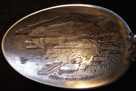 """Bowl marked: """"AVALON, SANTA CATALINA ISL CAL""""Rare view of Avalon Bay from west to east"""
